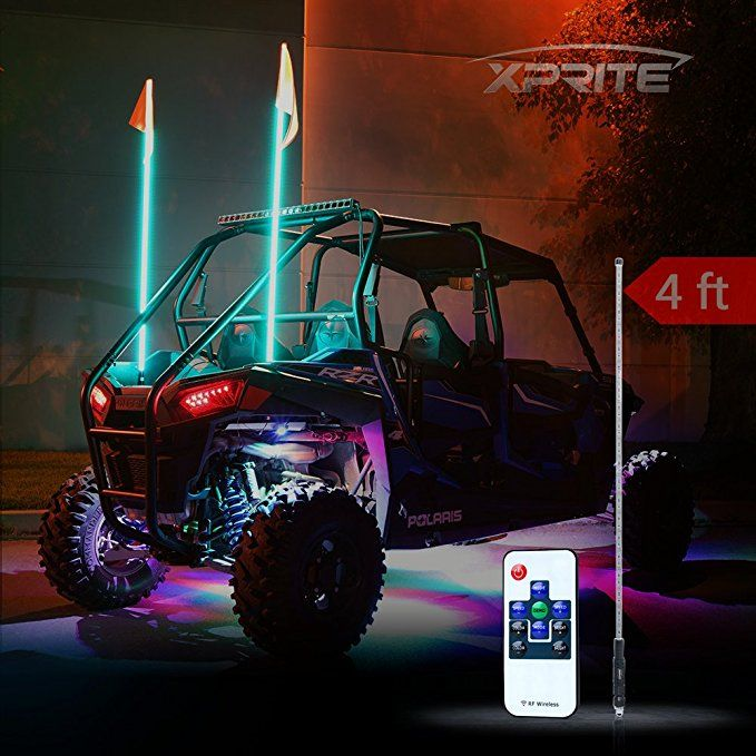 Xprite 4ft 1 2m Remote Control Flag Pole Whip Light With Rgb Colors For Offroad Buggy Dunes Atv Utv Trucks Flag Pole Remote Remote Control