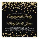 Gold Faux Glitter Confetti Engagement Party Black Card
