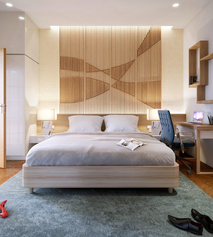 Fabulous bedroom design with wall texture decor... | Visit : roohome.com    #bed #bedroom #decoration #amazing #awesome #gorgeous #great #fabulous #Unique #simple #interior #design