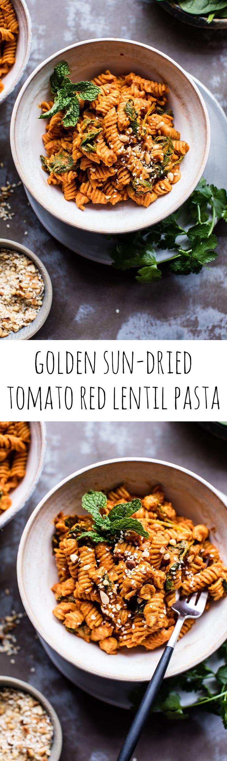 Golden Sun-Dried Tomato Red Lentil Pasta | halfbakedharvest.com @hbharvest
