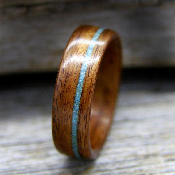 Bugholz Ring - Santos Palisander Holzring mit Offset Türkis Inlay - handgefertigte Holz Trauring - Custom Made