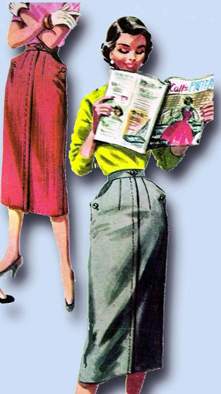 1950s Vintage McCalls Sewing Pattern 3410 Easy Uncut Misses Skirt Size 24 Waist