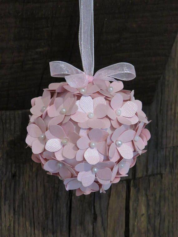 Boules de Noël Fleurs d'hortensia rose pale irisé et