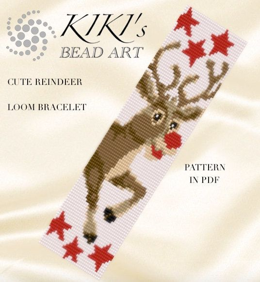Loom Pattern for bracelet - Rudolf, Cute reindeer of Santa LOOM bracelet cuff pattern in PDF - instant download