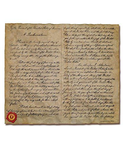 """The Emancipation Proclamation, 1863. 16"""" x 14"""", Printed on two pages.  Can be displayed in it's (supplied) collectors tube or have it framed.  16"""" x 14"""", Printed on Genuine Antiqued parchment.  Perfect for Historians, Collectors or teachers.  Historically accurate reproduction.  Perfect as a gift."""