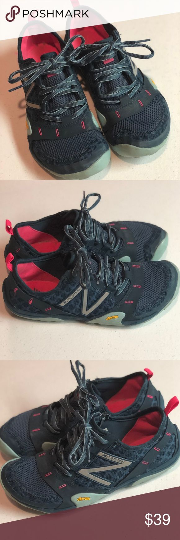 New Balance Blue/Pink Minimus Shoes, 7.5 Great used condition.  These will fit those who wear a 7.5 who sometimes wear a 7.  They will not fit if you wear a 7.5 and sometimes wear an 8.  Tons of life left as I have not worn them often. New Balance Shoes Athletic Shoes