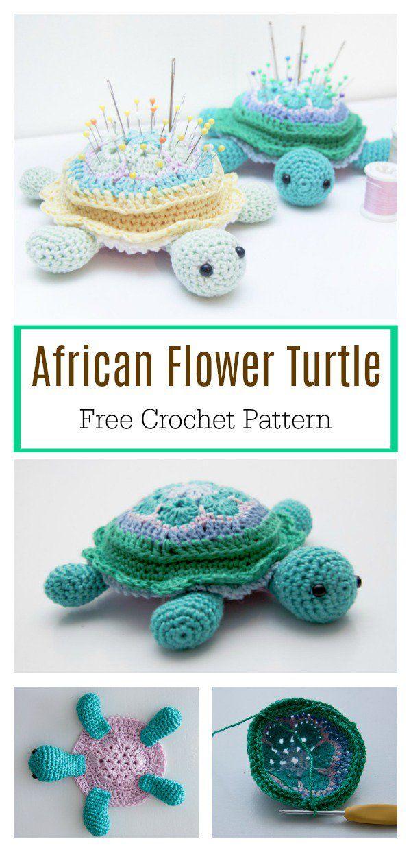 African Flower Hexagon Motif Turtle Free Crochet Pattern ...