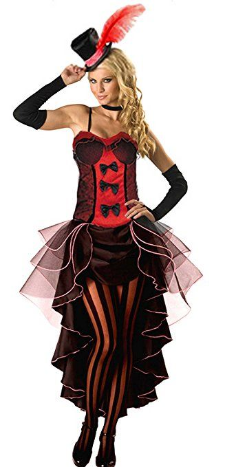 Forever Young Red Burlesque Moulin Rouge Fancy Dress Can Can Girl Costume Outfit + Hat & Glove (UK size 8)