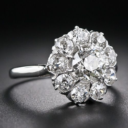 1930's French Vintage Diamond Cluster Ring ~would love to refurbish an old set into something like this