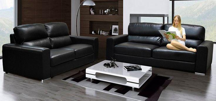 Naples 3 2 Seater Black In 2020 Luxury Leather Sofas Black Leather Sofa Decor Leather Sofa Set