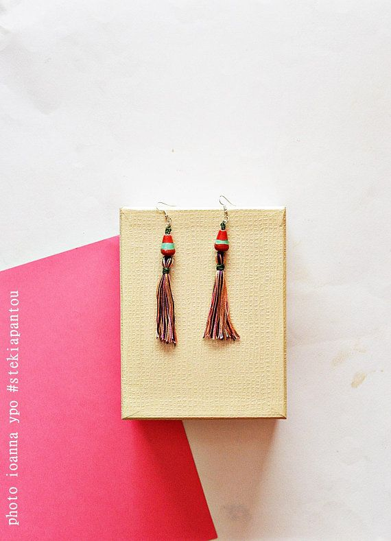 Tassel earrings boho, dangle statement earring, fringe style medium long, ceramic bead jewelry, spring fashion for women  #stekiapantou #ioannaypo #thessaloniki #macrameearrings #macramejewelry #tasselearings #bohofashion #bohoearrings #bohojewelry #handmadetassels #colorfultassels #ceraicbeads #greekdesigner