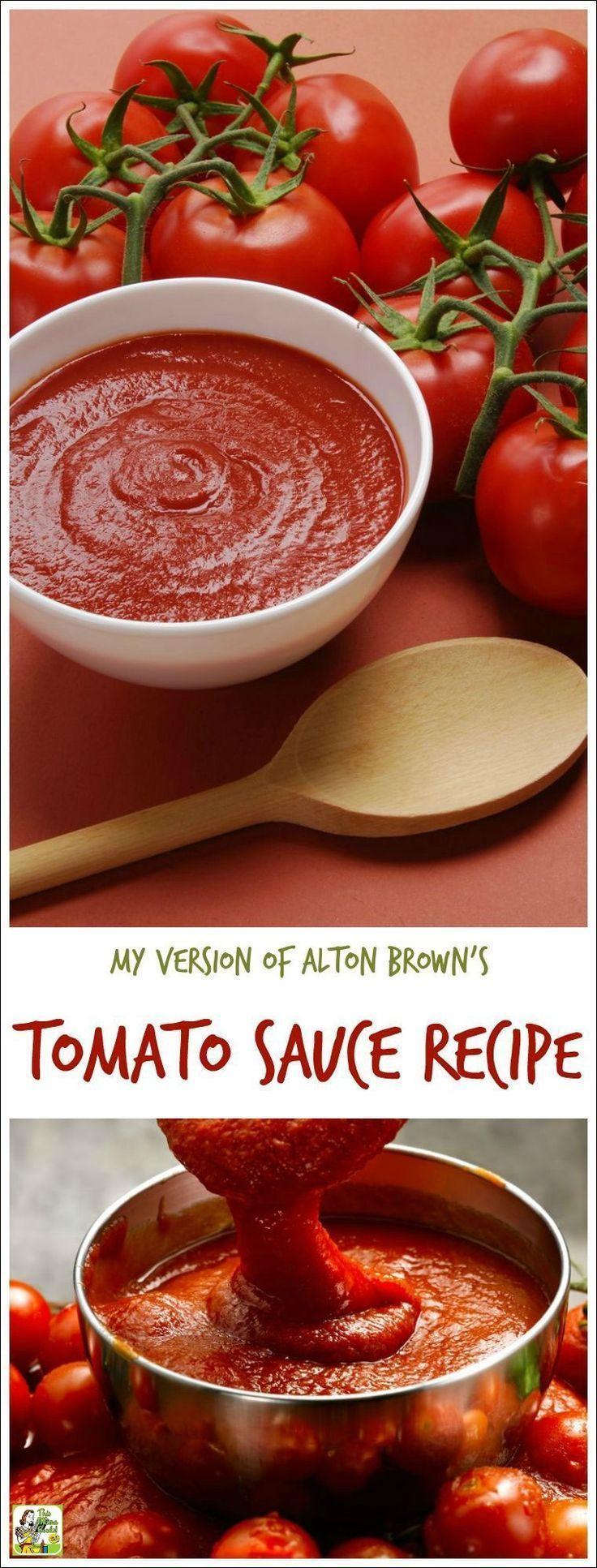 Looking for an easy homemade tomato sauce recipe? Or want to make easy fresh tomato pasta sauce from scratch? Here's my version of Alton Brown's tomato sauce recipe. Double the recipe and freeze half and you'll have spaghetti sauce in the freezer ready to