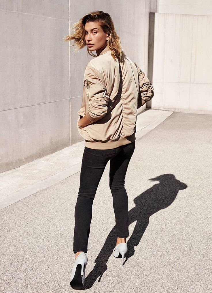 Hailey Baldwin wears H&M Bomber Jacket, Super-Slim-Fit Pants and Suede Pumps