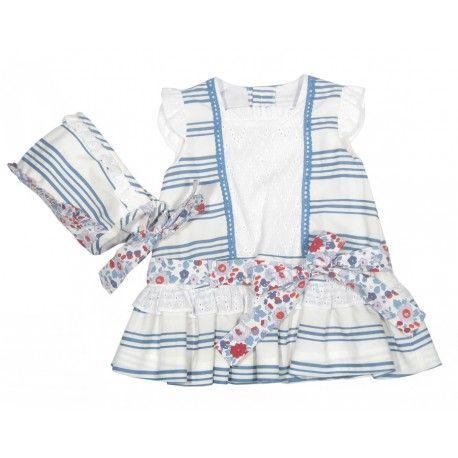 Ideal! Vestido con capota blanco roto con rayas azules de la Marca Marta y Paula en Outlet para Bebé. Compra online moda infantil hecha en España  www.pepaonline.com