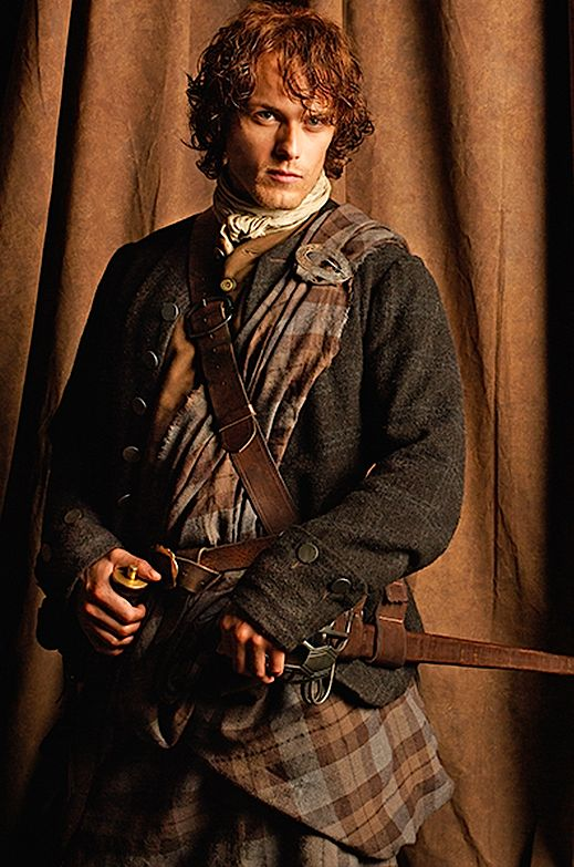 "#Outlander #Jamie Fraser - ""Sam Heughan/Jamie wears his kilt with almost a long skirt hanging down the back that swings beautifully when he moves,"" Outlander costumer Terry Dresbach says. Sam himself told us that he hates wearing trousers and finds kilts ""liberating"" and ""freeing""… Especially while riding a horse."