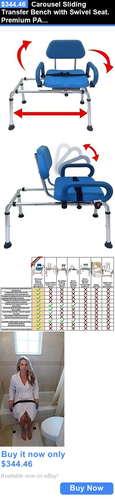 Transfer Boards and Benches: Carousel Sliding Transfer Bench With Swivel Seat. Premium Padded Bath And Shower BUY IT NOW ONLY: $344.46