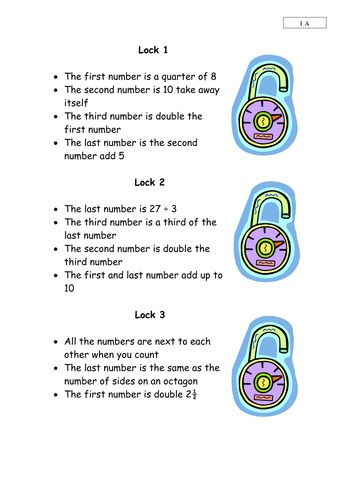 Combination locks from TES Link: https://www.tes.com/teaching-resource/combination-locks-maths-problem-solving-6168118