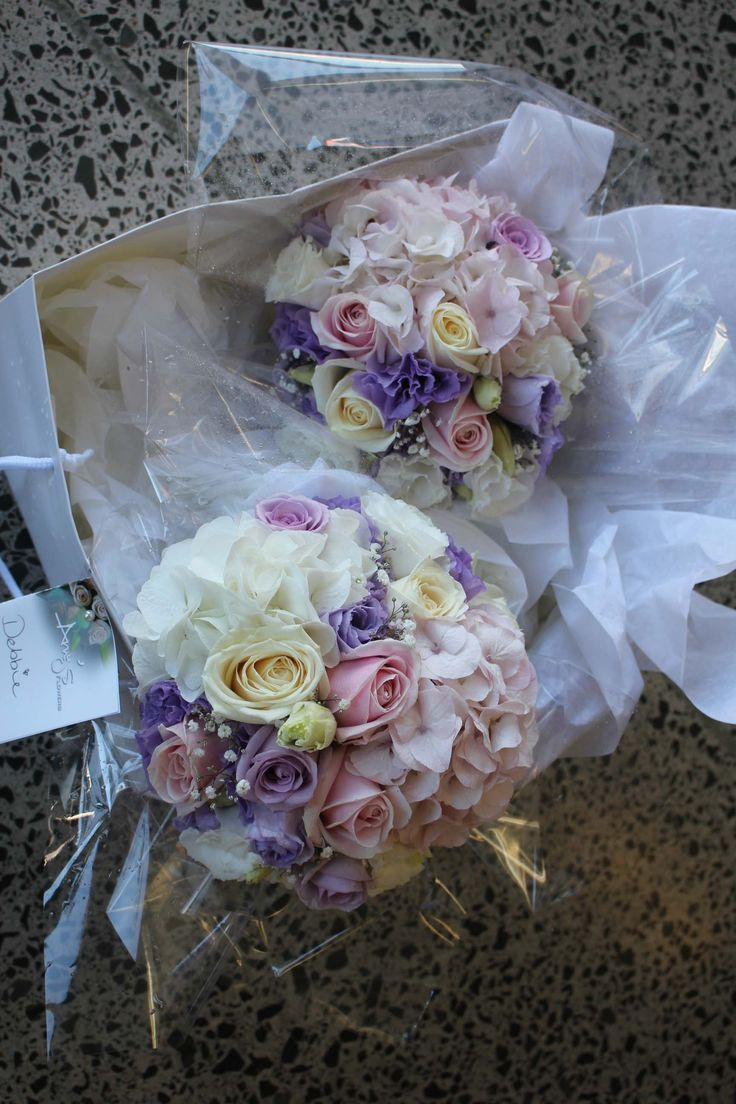 Soft pink, lavender and white bouquets - Romantic wedding flowers made by Amy's Flowers