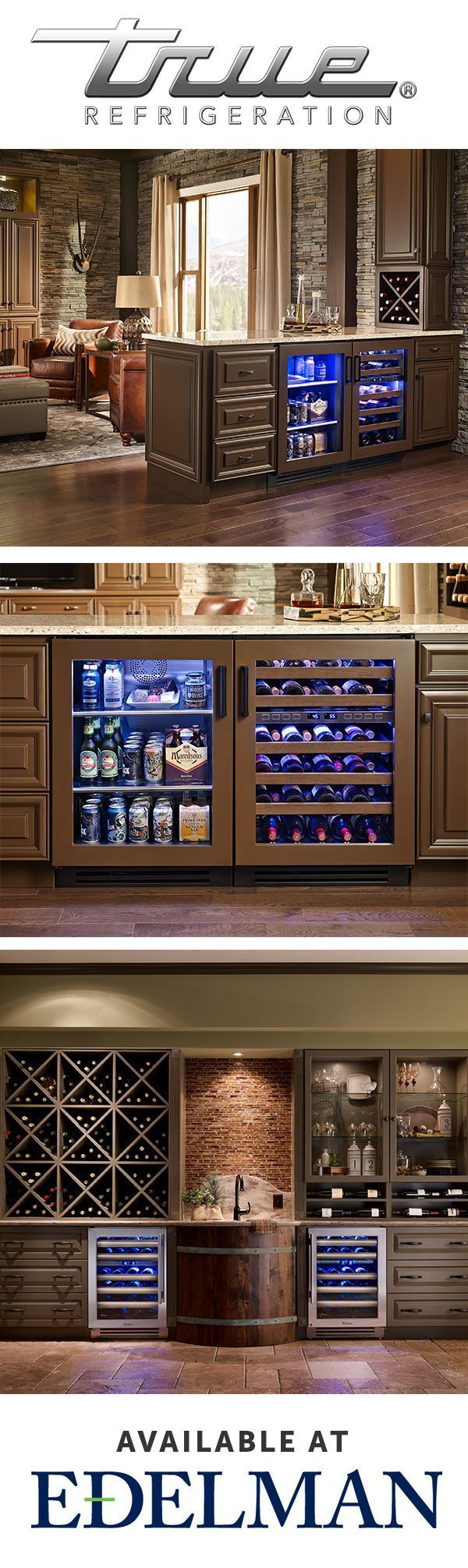 Learn how to use undercounter refrigeration to create the kitchen, wine room, or man cave of your dreams. True Refrigeration available at Edelman. | True Residential #WineCellar