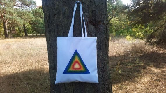 Rainbow Triangle hand painted tote canvas bag by CatAndBirdStudio