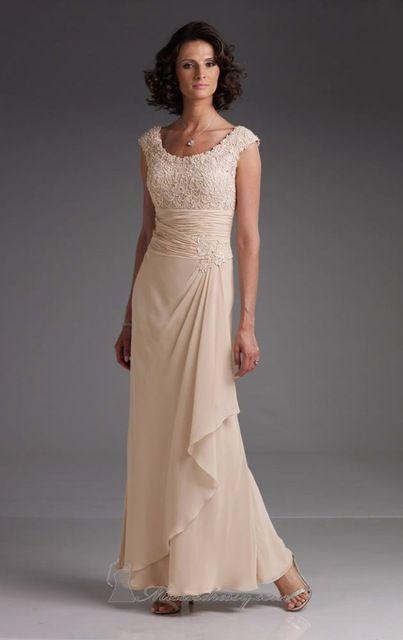 2015 mode femme moderne robes formelles Cap manches dentelle Champagne Casual mère de la mariée / Groom robes de soirée robes