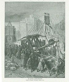 The Catapult Against Jerusalem  Wood engraving after Gustave Dore from an illustrated work ca 1885.