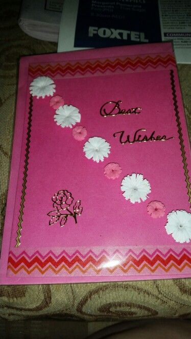 Row of flowers quilled card