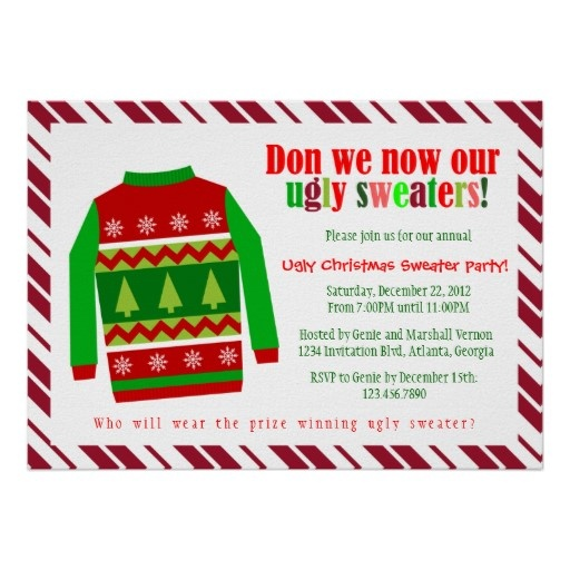 Best Ugly Christmas Sweater Party Invitations Images On Pinterest - Ugly sweater christmas party invitations template