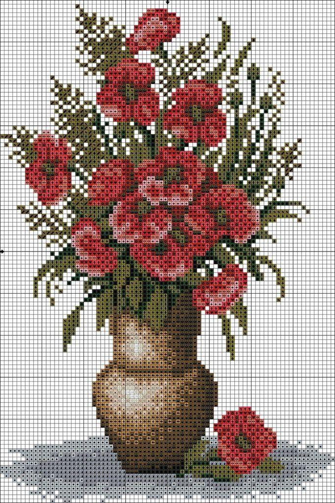 Jarron flores rojas