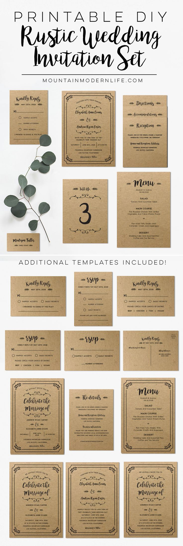Printable Rustic Wedding Invitation Set | Diy wedding ...