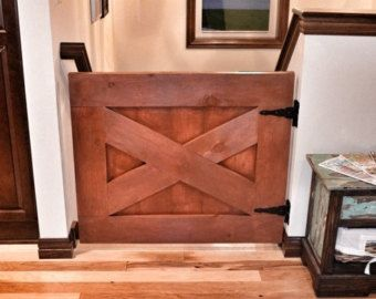 Rustic Dog/ Baby Gate Barn Door Style w/optional by LoNineDesigns
