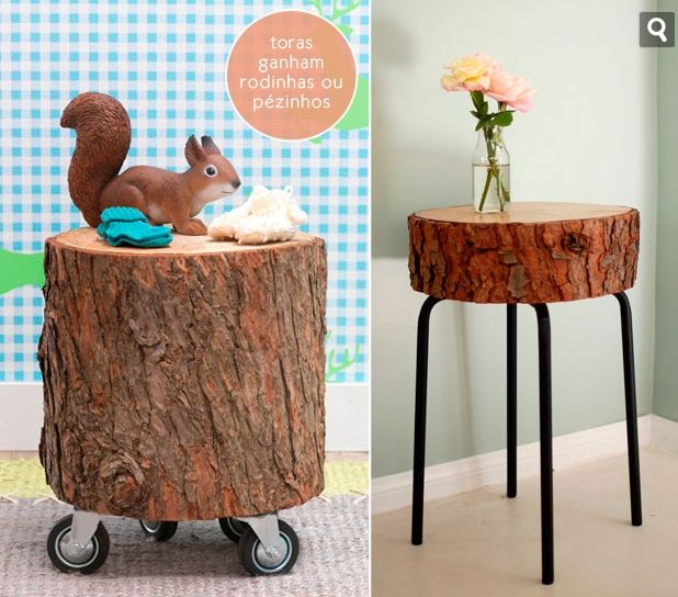 Tavolino tronco su ruote, muebles rusticos, ideas para la casa. Alojate en Asturias, La CAsina de Giranes, http://casinadegiranes.wordpress.com, tf 669031887