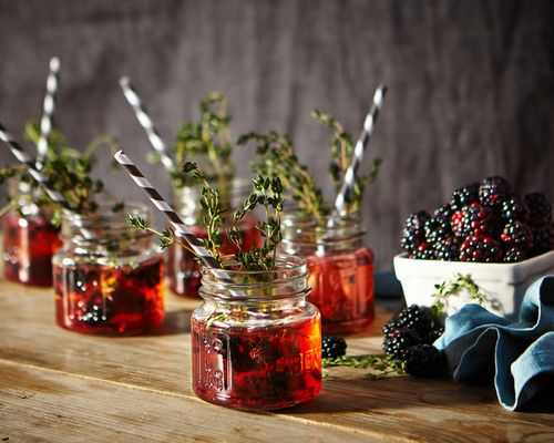 Blackberry Thyme Champagne Cocktail via @Anthropologie