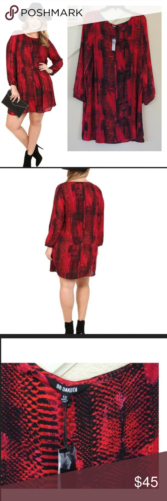 """Red Snake Print Long Sleeve Shift Dress ** Reasonable Offers Welcome - No Trades** - Approx measurements lying flat: -Bust (armpit to armpit): 22 1/2""""  - length 37 1/2"""" - This easy BB Dakota shift dress gains a bold look from a mix of colorful snake prints. Boat neckline. Long sleeves. Unlined. - Hand wash or dry clean. -Fabric: Crepe. 100% polyester. BB Dakota Dresses Long Sleeve"""