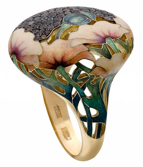 Yellow Gold Poppy ring with Alexandrites and enamel painted poppy flowers  by Russian jewllery designer Ilgiz F.