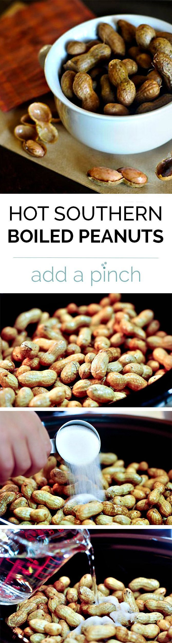 Hot Boiled Peanuts are a traditional Southern snack perfect for football games and fall drives! This easy version lets the slow cooker do all the hard work!  // addapinch.com
