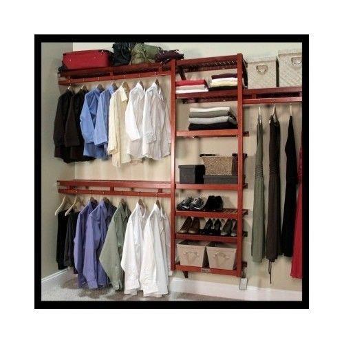 Closet-Organizer-System-Bedroom-Shelves-Garment-Bar-Wood-Shoe-Storage-Mahogany