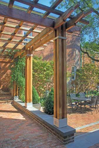 mahogany and steel pergola detail