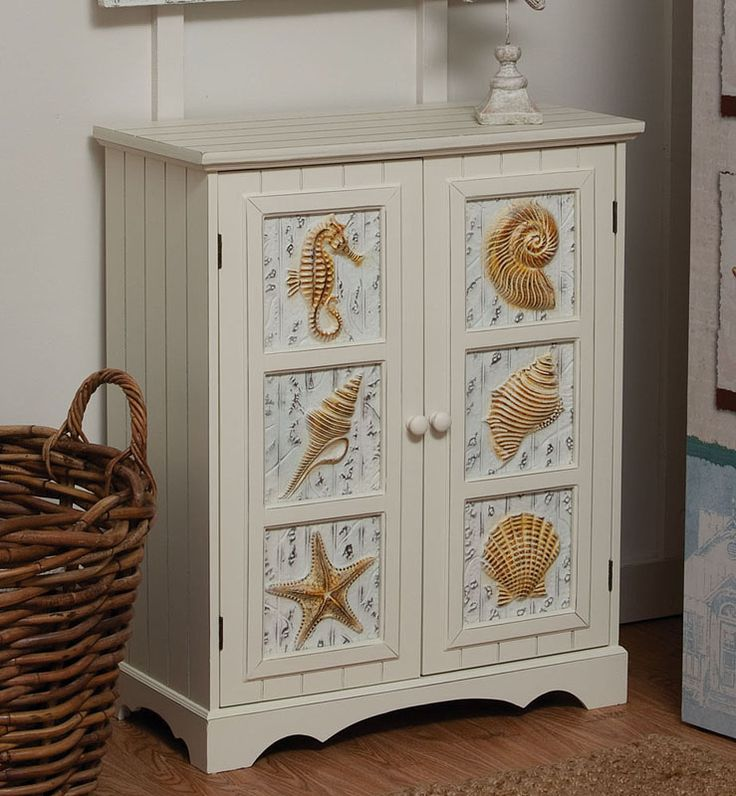 Beach themed decor seashell 2 door cabinet for Seashell bathroom accessories