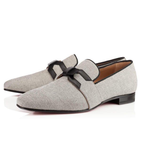 Christian Louboutin Francis Flat Black Cotton Mens-Loafers