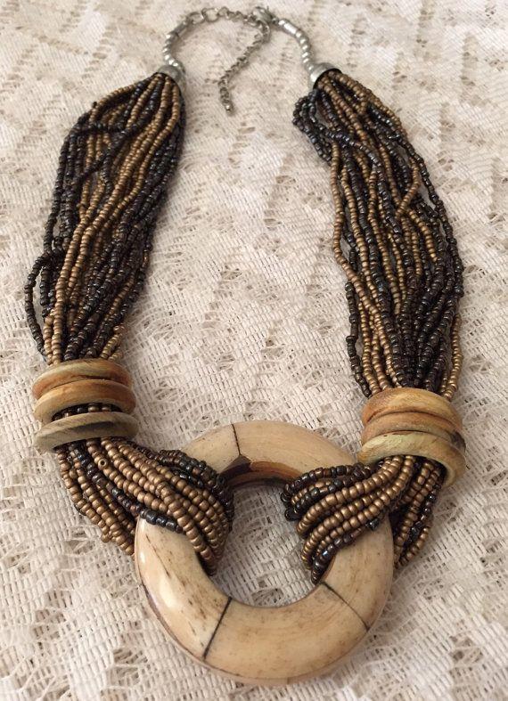 Vintage Seed Beaded Necklace Multi Stranded by ViksVintageJewelry
