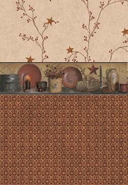 Primitive Decor-Burgundy Wallpaper Border