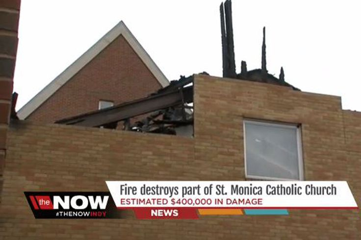 A fire badly damaged St. Monica Catholic Church in northwest Indianapolis overnight on Wednesday.