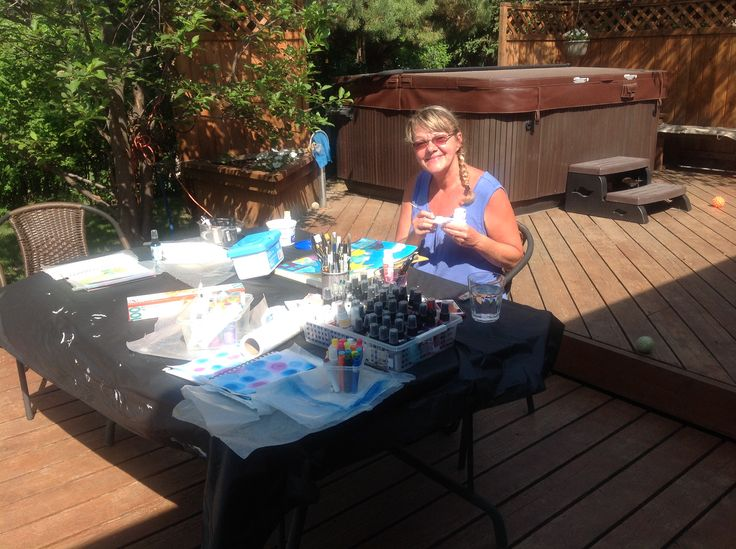 My happy art  Hi it's me Shelley Keeble, I create happy art... It's my love ..my passion..my therapy. Outside on my deck