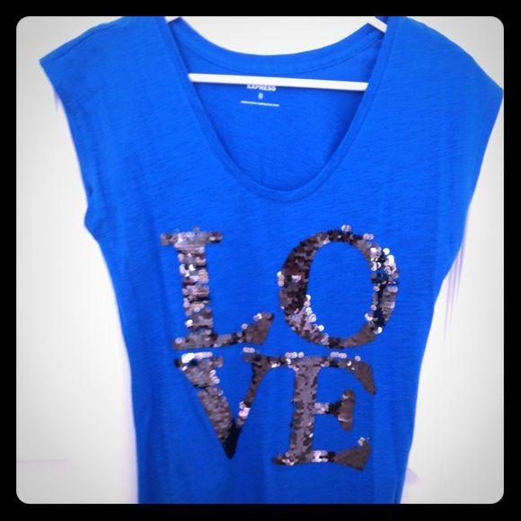 Express new royal blue shirt. Royal blue and sequins (love) new! Never worn. Express Tops