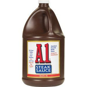 Homemade A.1. Steak Sauce  1/2 c. cold water 1/4 c. golden raisins 1/2 c. aged balsamic vinegar 1/4 c. worcestershire sauce 1/4 c. ketchup 1/4 c. dijon mustard (don't substitute or you won't get the same product) a pinch of cayenne for some heat 1/4 t. black pepper 1 garlic clove, cut in half 1/2 t. celery seed 1/4 t. kosher salt 1 large orange