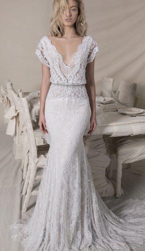 df0840bc65 Short sleeve Lace bohemian wedding dress