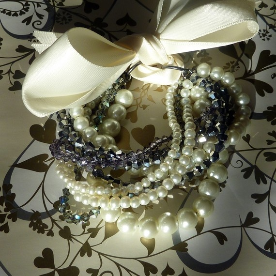 multi strand bracelet with ribbon