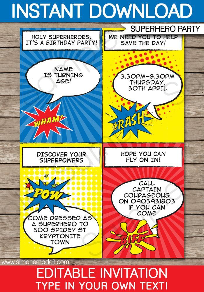 Best Rd Bday Images On Pinterest Superhero Birthday Party - Superhero birthday invitation free template