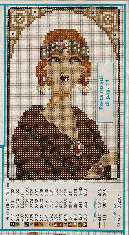 point de croix  femme art déco art nouveau- cross-stitch woman art deco vintage